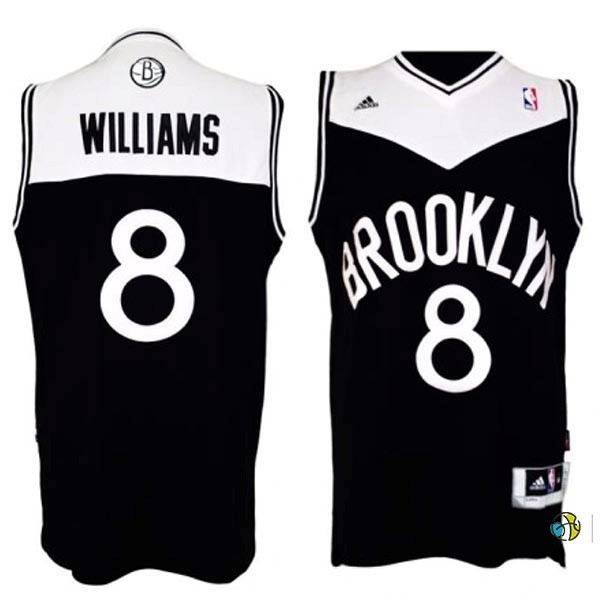 Maillot NBA Brooklyn Nets No.8 Deron Michael Williams Noir Blanc
