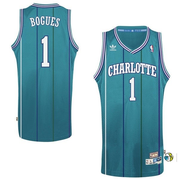 Maillot NBA Charlotte Hornets No.1 Tyrone Curtis Bogues Vert