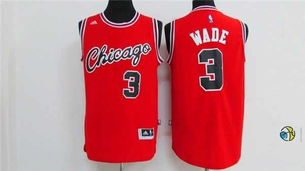 Maillot NBA Chicago Bulls NO.3 Dwyane Wade 2016 Rouge