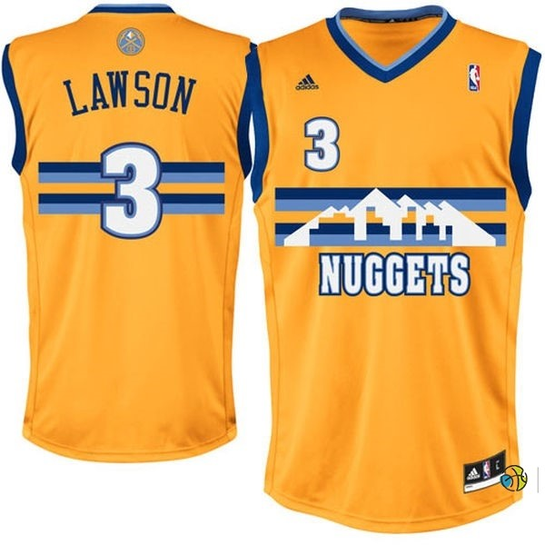 Maillot NBA Denver Nuggets NO.3 Allen Iverson Jaune