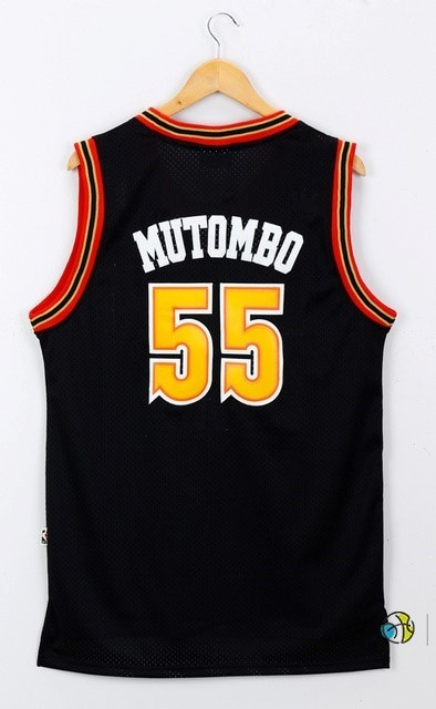 Maillot NBA Denver Nuggets NO.55 Dikembe Mutombo Noir