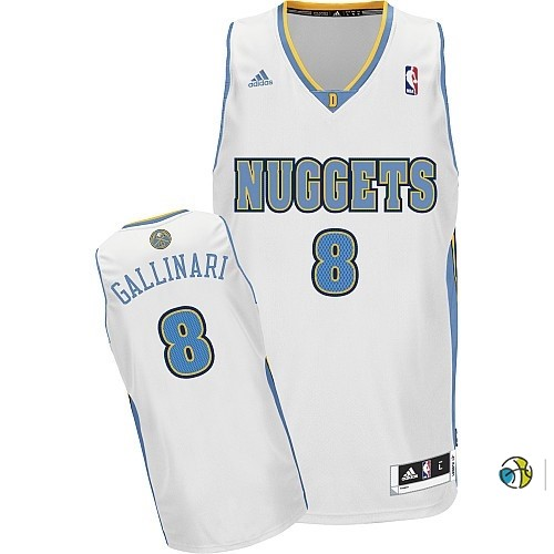 Maillot NBA Denver Nuggets NO.8 Danilo Gallinari Blanc