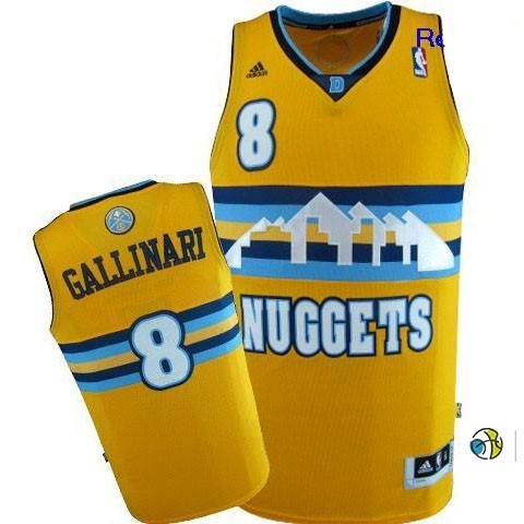 Maillot NBA Denver Nuggets NO.8 Danilo Gallinari Jaune