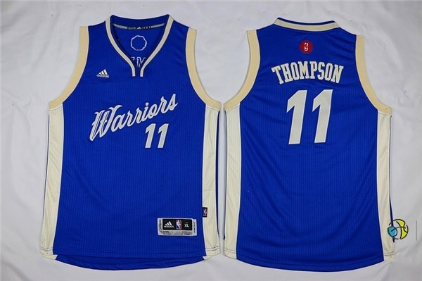 Maillot NBA Enfant 2015 Noël Golden State Warriors NO.11 Klay Thompson Bleu