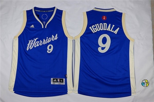 Maillot NBA Enfant 2015 Noël Golden State Warriors NO.9 Andre Iguodala Bleu