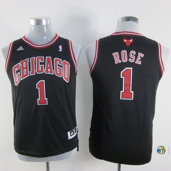 Maillot NBA Enfant Chicago Bulls NO.1 Derrick Rose Noir