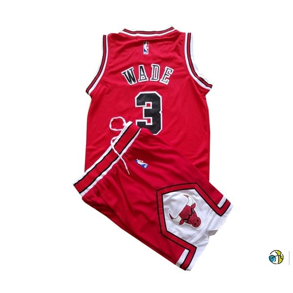 Maillot NBA Enfant Chicago Bulls NO.3 Dwyane Wade Rouge