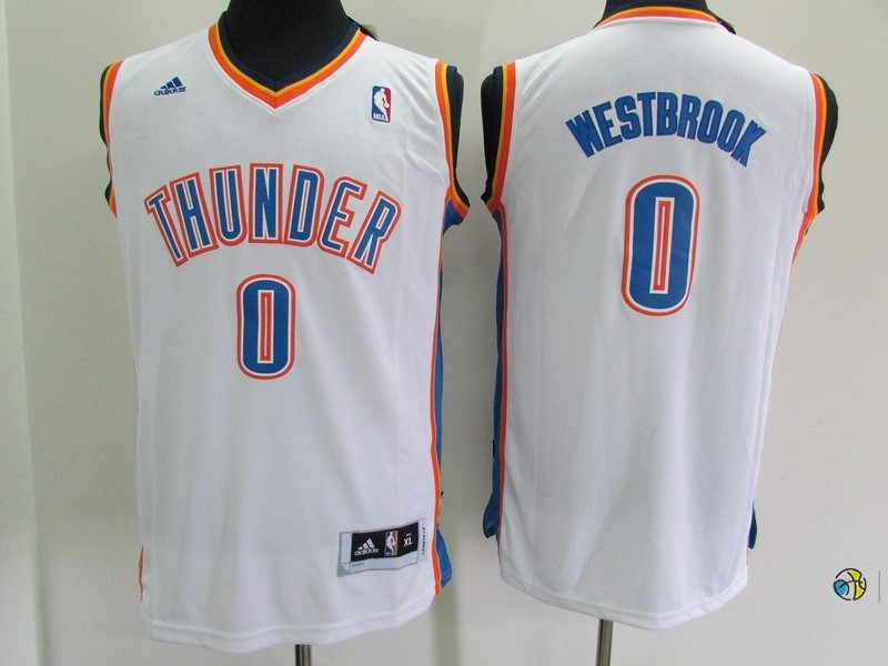 Maillot NBA Enfant Oklahoma City Thunder NO.0 Russell Westbrook Blanc