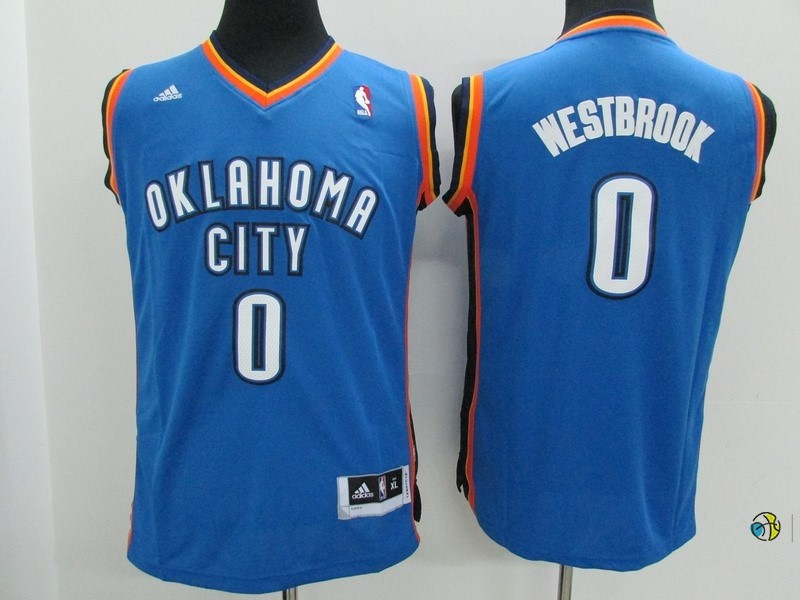 Maillot NBA Enfant Oklahoma City Thunder NO.0 Russell Westbrook Bleu