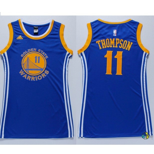 Maillot NBA Femme Golden State Warriors NO.11 Klay Thompson Bleu