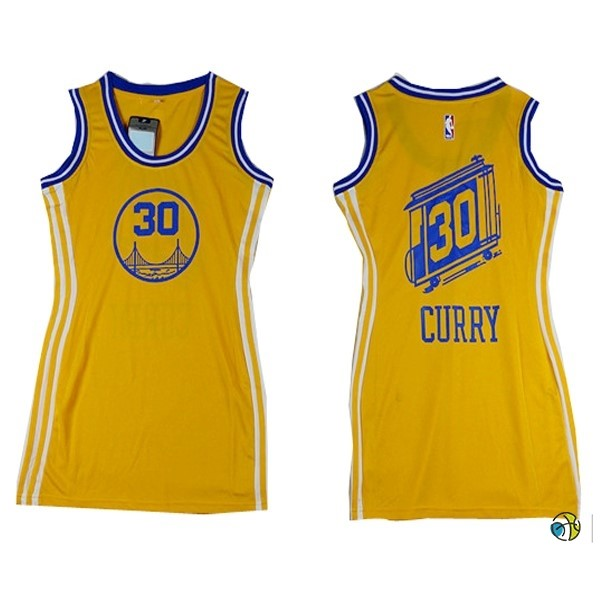 Maillot NBA Femme Golden State Warriors NO.30 Stephen Curry Jaune