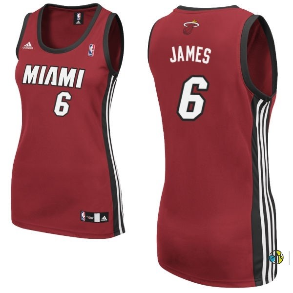 Maillot NBA Femme Miami Heat NO.6 LeBron James Rouge