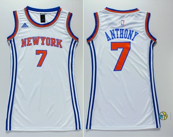 Maillot NBA Femme New York Knicks NO.7 Carmelo Anthony Blanc