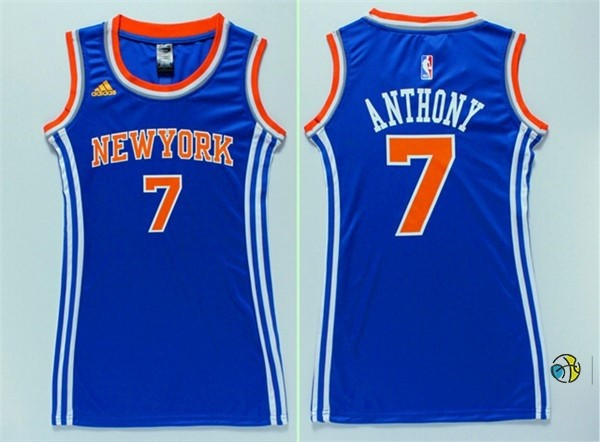 Maillot NBA Femme New York Knicks NO.7 Carmelo Anthony Bleu