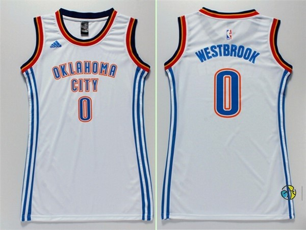 Maillot NBA Femme Oklahoma City Thunder NO.0 Russell Westbrook Blanc