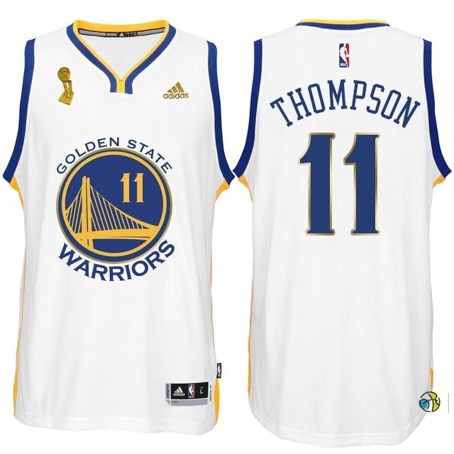 Maillot NBA Golden State Warriors 2015 Champions Finales NO.11 Thompson Blanc