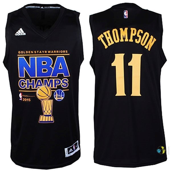 Maillot NBA Golden State Warriors 2015 Champions Finales NO.11 Thompson Noir