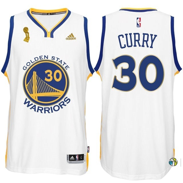 Maillot NBA Golden State Warriors 2015 Champions Finales NO.30 Curry Blanc