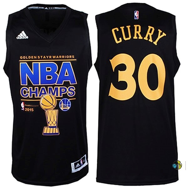 Maillot NBA Golden State Warriors 2015 Champions Finales NO.30 Curry Noir