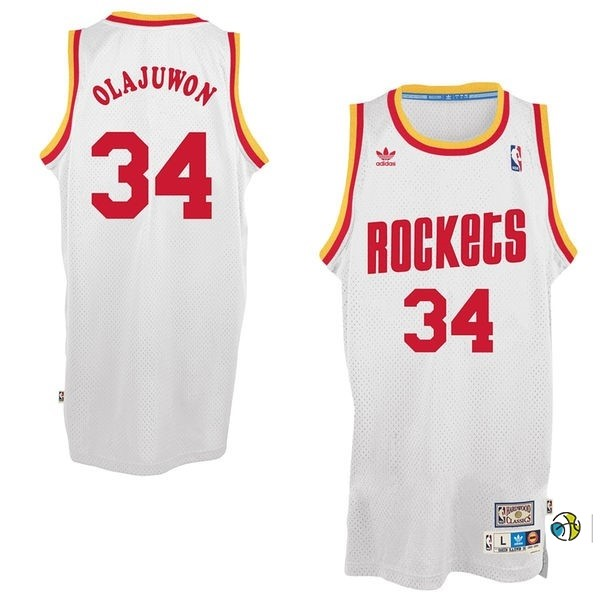 Maillot NBA Houston Rockets NO.34 Hakeem Abdul Olajuwon Blanc