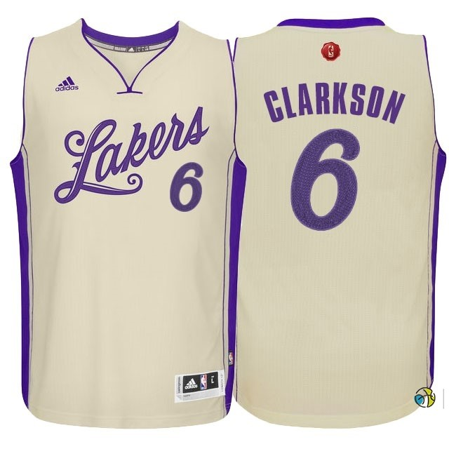 Maillot NBA Los Angeles Lakers 2015 Noël NO.6 Clarkson Blanc