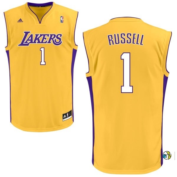 Maillot NBA Los Angeles Lakers NO.1 D'Angelo Russell Jaune