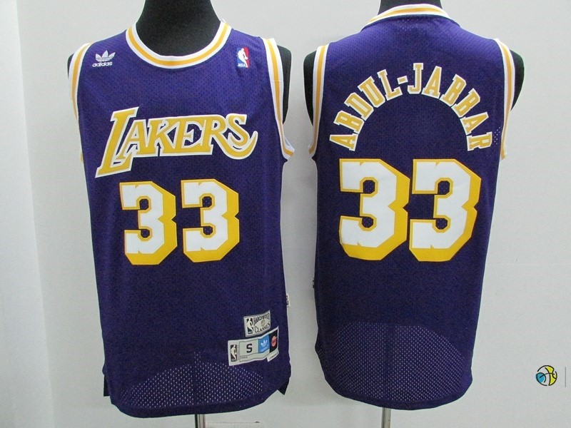 Maillot NBA Los Angeles Lakers NO.33 Kareem Abdul Jabbar Pourpre