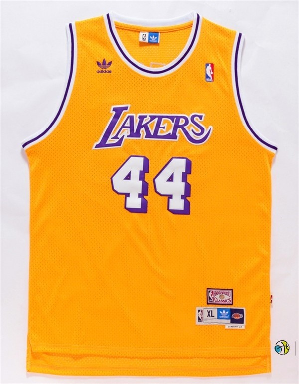 Maillot NBA Los Angeles Lakers NO.44 Jerry West Jaune