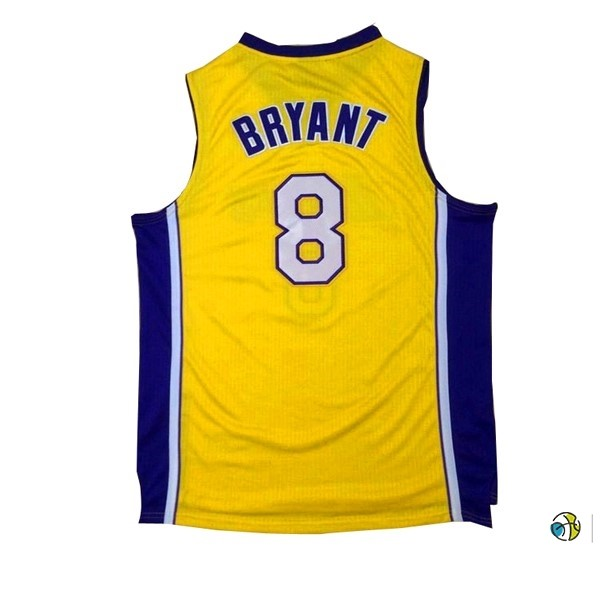 Maillot NBA Los Angeles Lakers NO.8 Kobe Bryant Jaune Pourpre