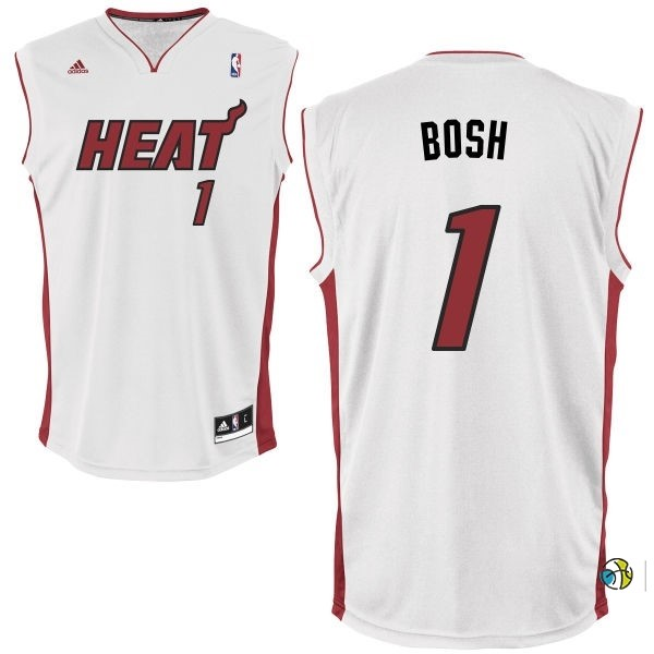 Maillot NBA Miami Heat NO.1 Chris Bosh Blanc Rouge