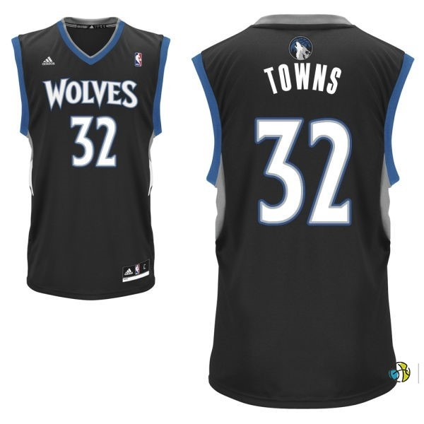 Maillot NBA Minnesota Timberwolves NO.32 Karl Anthony Towns Noir