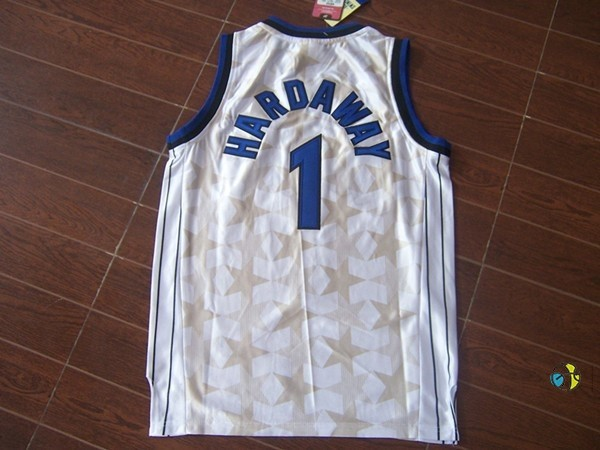 Maillot NBA Orlando Magic NO.1 Anfernee Hardaway Blanc Sombre