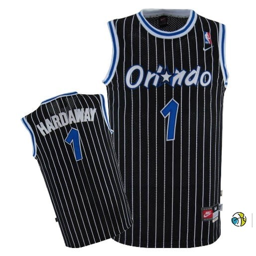 Maillot NBA Orlando Magic NO.1 Anfernee Hardaway Noir