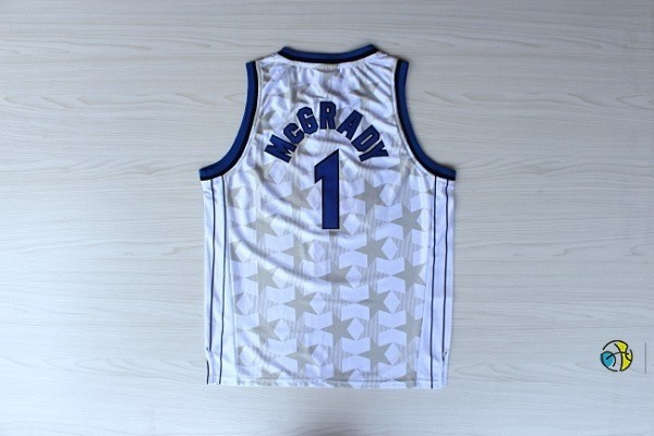 Maillot NBA Orlando Magic NO.1 Tracy McGrady Blanc Sombre