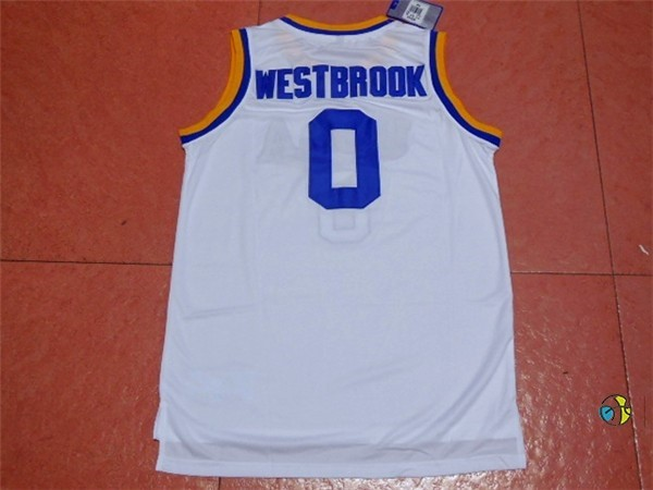 Maillot NCAA UCLA NO.0 Russell Westbrook Blanc