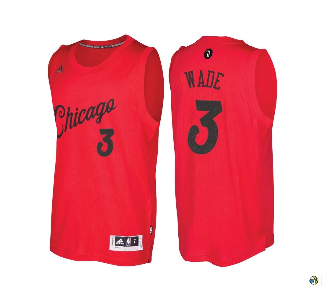 Maillot NBA Chicago Bulls 2016 Noël NO.3 Dwyane Wade Rouge