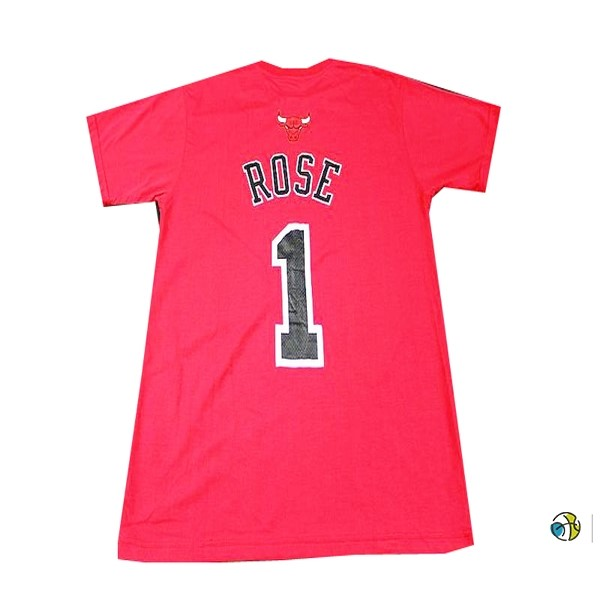 Maillot NBA Chicago Bulls Manche Courte NO.1 Rose Rouge