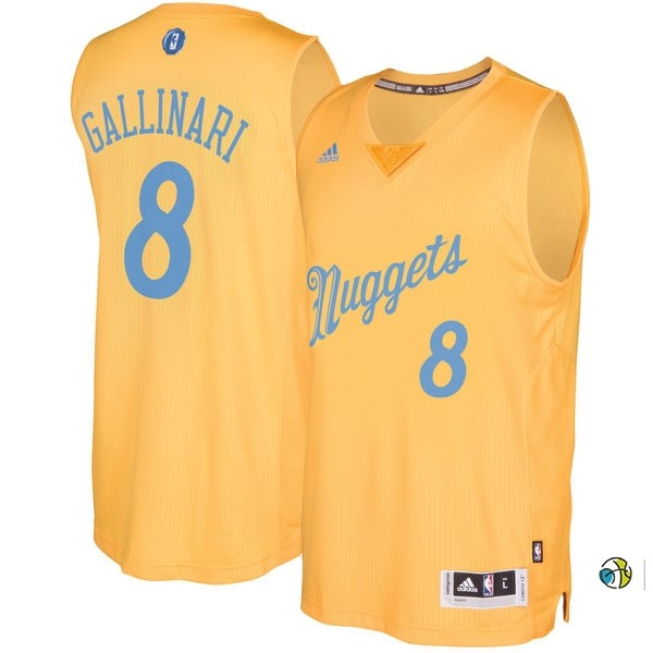 Maillot NBA Denver Nuggets 2016 Noël NO.8 Danilo Gallinari Jaune