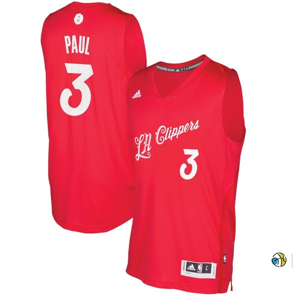 Maillot NBA Los Angeles Clippers 2016 Noël NO.3 Chris Paul Rouge