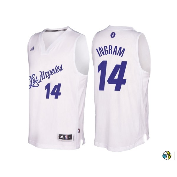 Maillot NBA Los Angeles Lakers 2016 Noël NO.14 Brandon Ingram Blanc