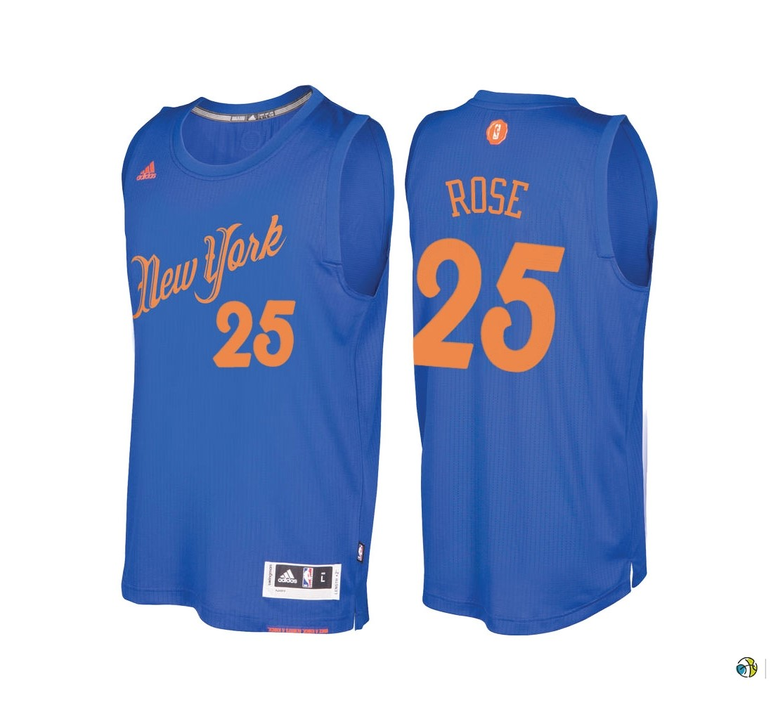 Maillot NBA New York Knicks 2016 Noël NO.25 Derrick Rose Bleu