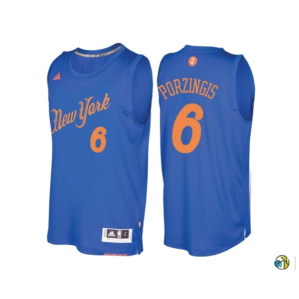 Maillot NBA New York Knicks 2016 Noël NO.6 Kristaps Porzingis Bleu