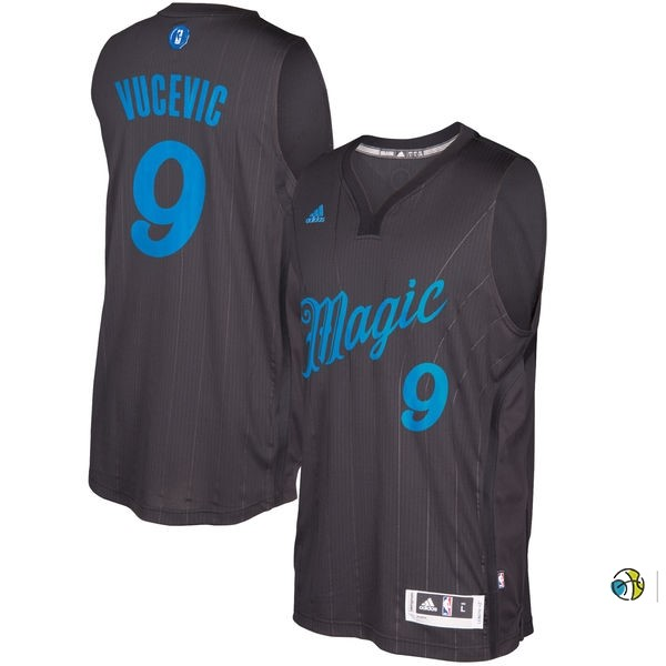Maillot NBA Orlando Magic 2016 Noël NO.9 Nikola Vucevic Noir