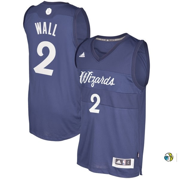 Maillot NBA Washington Wizards 2016 Noël NO.2 John Wall Bleu