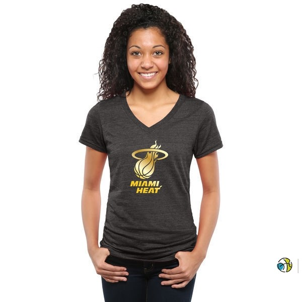 T-Shirt Femme NBA Miami Heat Noir Or